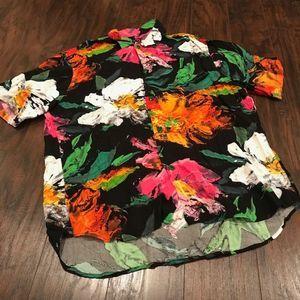 Jams World cotton floral button down shirt dip hem